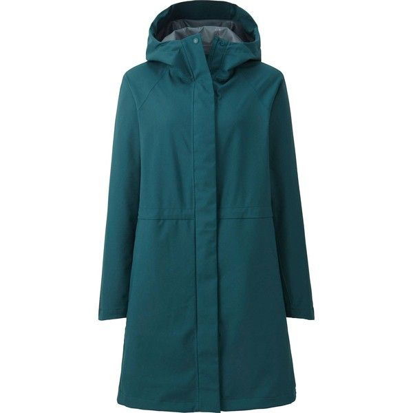 UNIQLO BLOCKTECH Hooded Rain Coat ($92) ❤ liked on Polyvore featuring outerwear, coats, blue raincoat, zip coat, blue long coat, long hooded coat and uniqlo coats