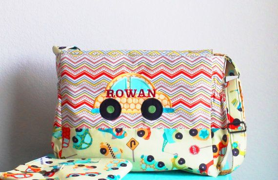 Personalized Car Diaper Bag for boys with a by CreativeBagsForKids