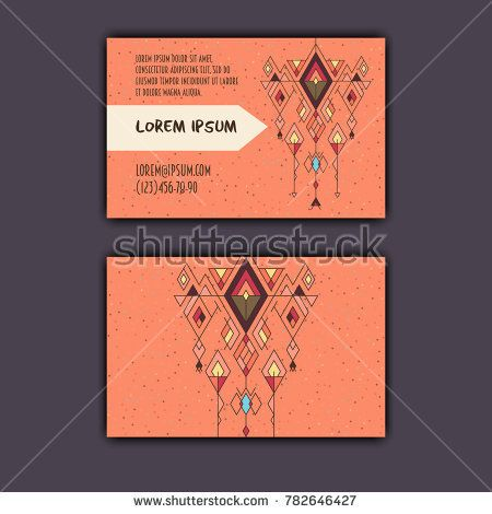 Vector ethnic business card template with tribal geometric element.