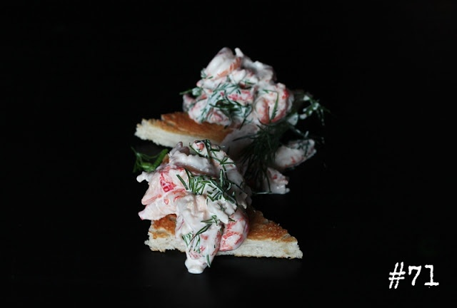 Crayfish salad with dill on toast
