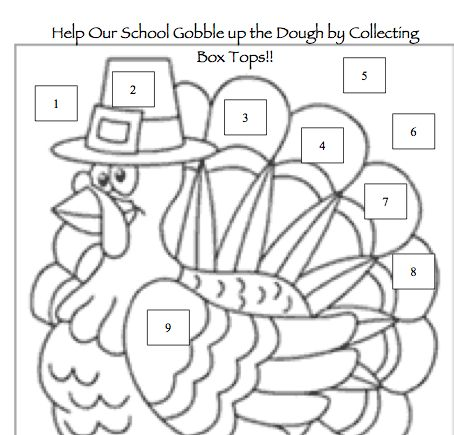 Thanksgiving-themed Box Tops collection sheet from the PTO Today File Exchange.