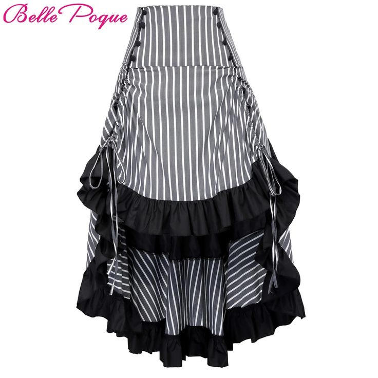 Belle Poque Adjustable Asymmetrical Striped Front Short Back Sexy Long Gothic Skirt Vintage Ruffled Steampunk Skirts For Women