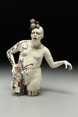 "Nancy Kubale All that goes in...flavors what comes out   red stoneware, terra sig, oxide, underglaze, glaze, graffiti pen, and string  15"" x 14"" x 4.5"""