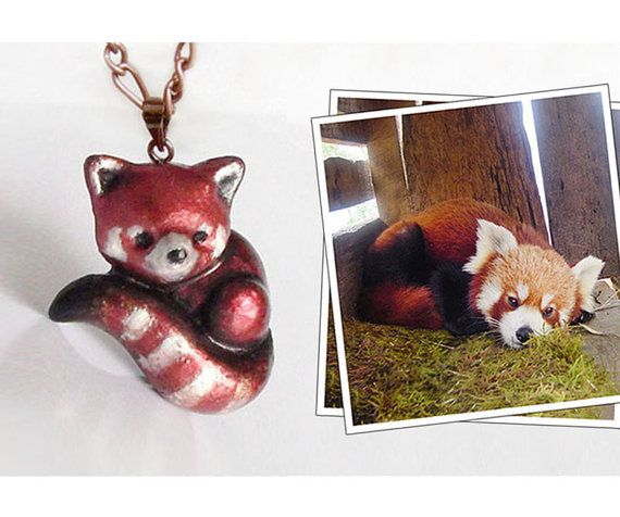 Red panda necklace or brooch polymer clay animal pin by UraniaArt, $38.00