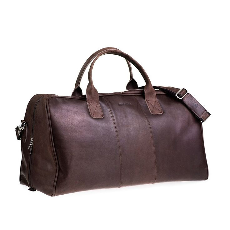 Casual skórzana torba podróżna na ramię ciemny brąz