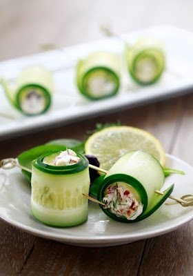 Cucumber rolls-just thinly slice fresh cucumber and fill with a plant based food like beans