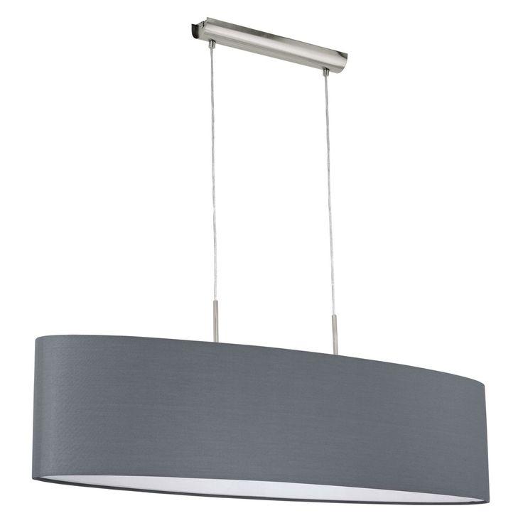 Mareilo / Hängeleuchte / Stahl Nickel-Matt Textil Grau 40466