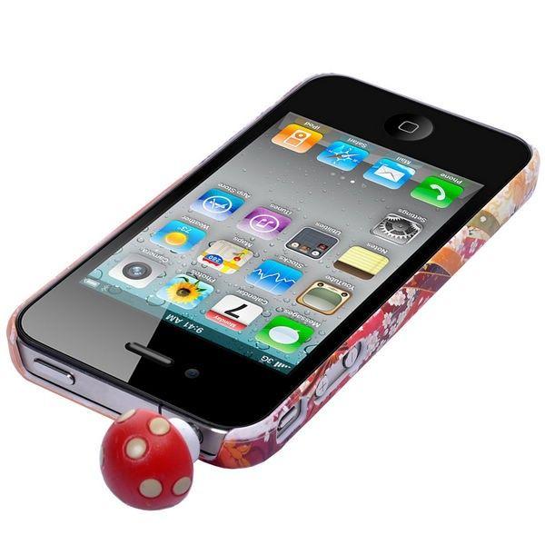 Smarttelefon Støvbeskytter for 3,5 mm Audio Out (Rød Sopp)