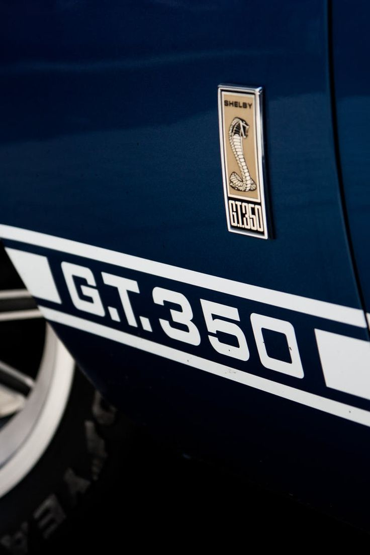 Blue and white ford mustang shelby g t 350