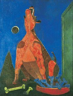 "Rufino Tamayo, ""Perro ladrando a la luna (Dog Howling at the Moon),"" 1942, oil on canvas."