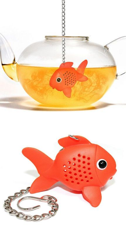 Goldfish tea infuser ... fish shape infuser on a chain hooked to its fin, silicone and stainless steel