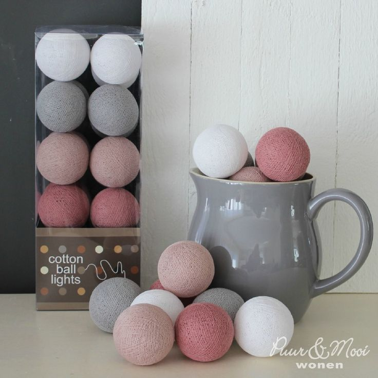 Cotton Ball Lights Oud Roze/Grijs