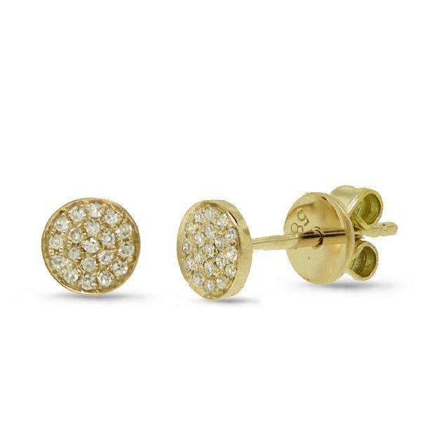 0.07ct 14k Yellow Gold Diamond Pave Stud Earrings