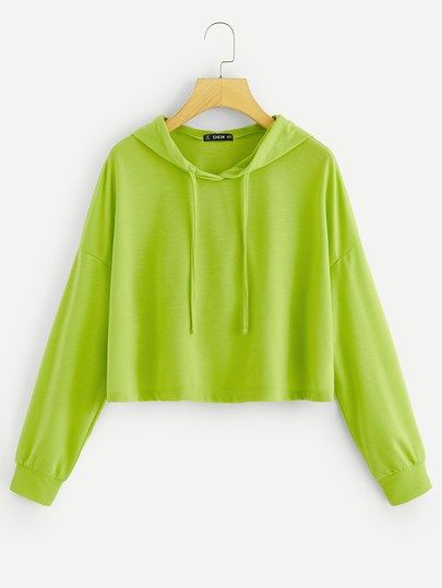 d9b3dd1c96e Drop Shoulder Neon Green Hoodie in 2019 | Personality Sweatershirts ...