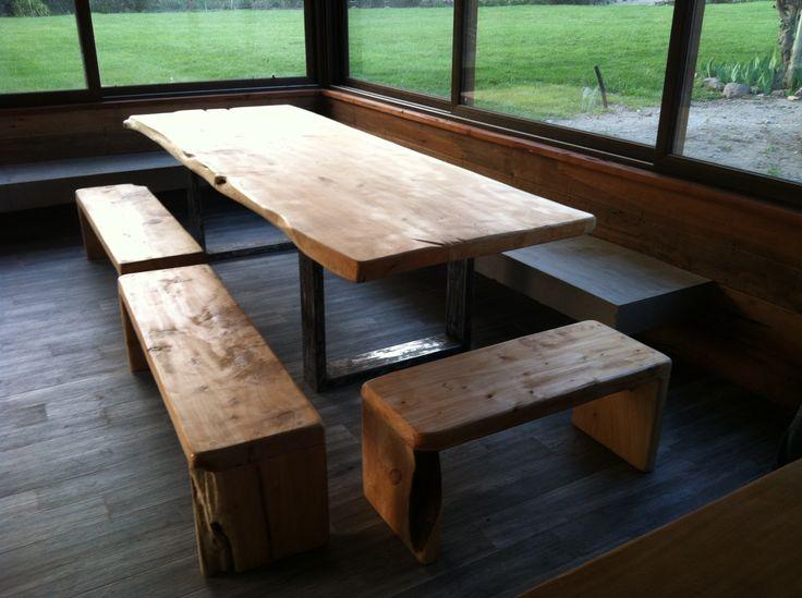 Pack de comedor mesa de comedor de cubierta de cipres con base de fierro moderno - Comedor con banca ...