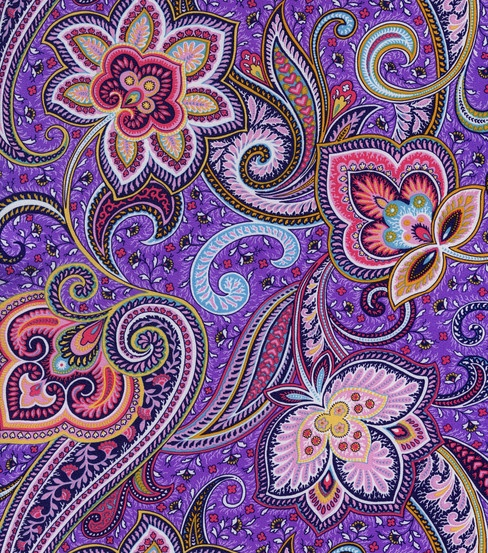 Simply Silky Print- Purple Paisley Charmeuse