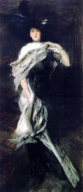 Giovanni Boldini's Edith Stuyvesant Dresser Vanderbiltt. Boldini was friends with John Singer Sargent. It is hanging in the Biltmore Estate in Asheville, NC