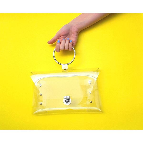 Clear wristlet bag for nfl match, luxury bag,metal ring handle... (156 PLN) via Polyvore featuring bags, handbags, clutches, metal purse, clear clutches, yellow handbags, yellow purses and top handle bags