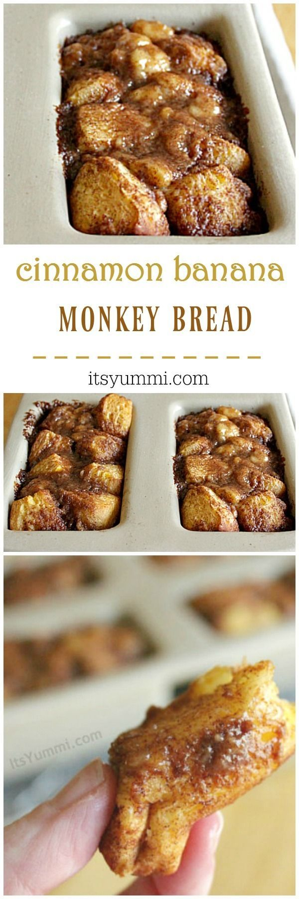 Cinnamon banana monkey bread is a sweet breakfast or brunch recipe! Flaky biscuit dough, sweetened with bananas and cinnamon sugar glaze. | Easy recipe from @itsyummi