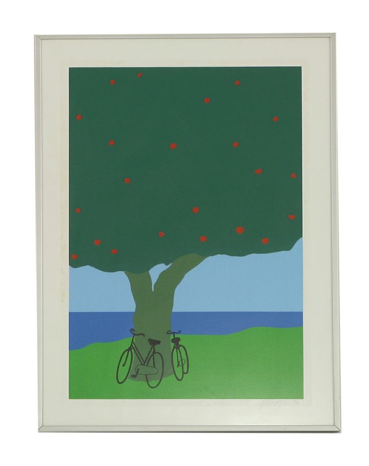 Ole Kortzau (Danish b. 1939), BICYCLES UNDER AN APPLE TREE, screenprint, signed in pencil and dated '79 52 x 36cm £70-100 29th July 2014
