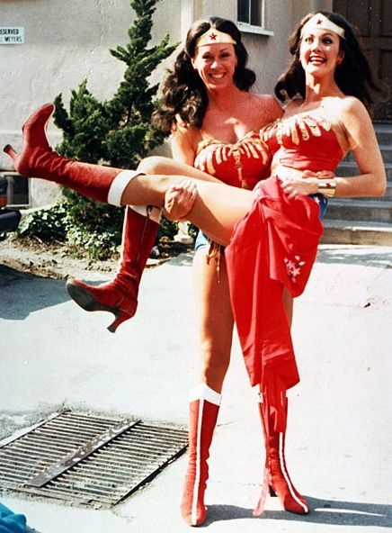 Linda Carter and her stunt double