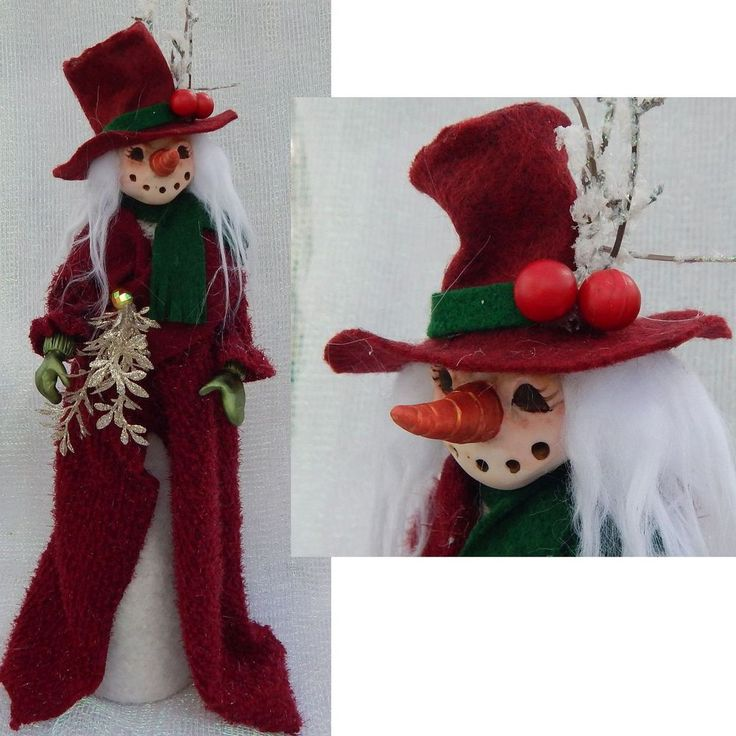 snowman tree topper or decoration holiday red top hat. Black Bedroom Furniture Sets. Home Design Ideas