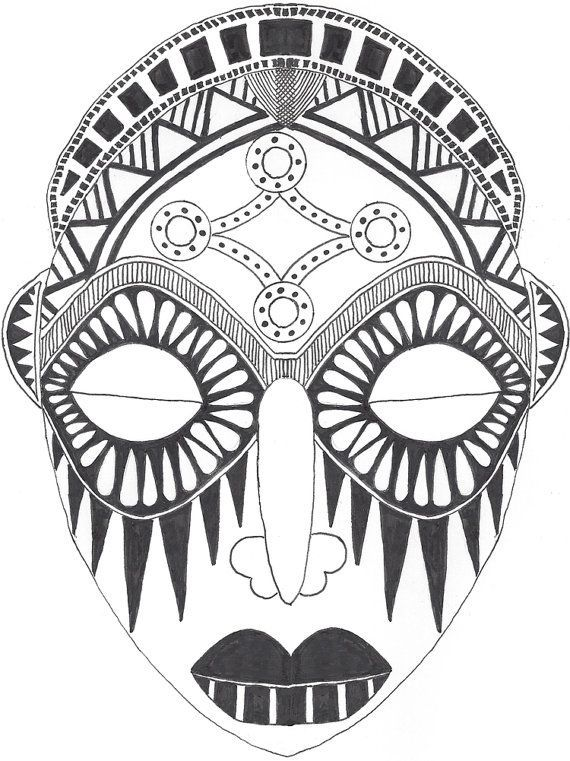 indian tribal masks coloring pages - photo#17