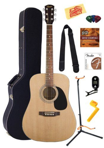 Fender Squier Acoustic Guitar Bundle with Hardshell Case, Guitar Stand, Instructional DVD, Strap, Picks, Strings, String Winder, Tuner, and Polishing Cloth - Natural
