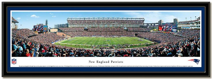 New England Patriots playing in Gillette Stadium, panoramic framed and matted poster