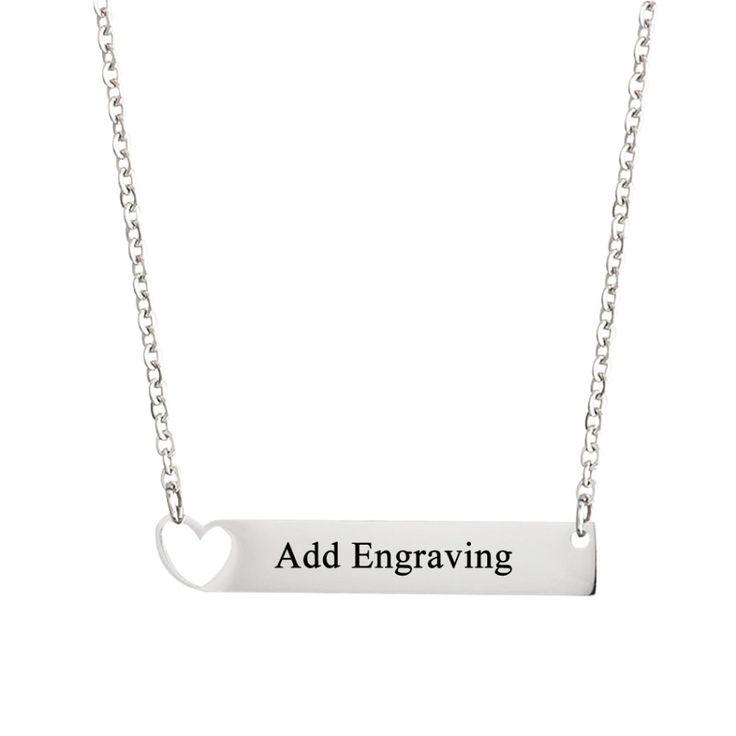 Engraved Bar Necklace with Heart Symbol - Belis Delights