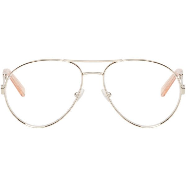 Chloé Gold Aviator Optical Glasses ($245) ❤ liked on Polyvore featuring accessories, eyewear, eyeglasses, glasses, sunnies, gold, nose pads glasses, see through glasses, gold glasses and aviator glasses
