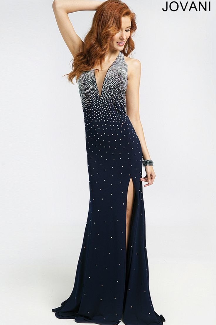 14 best sleek navy blue images on pinterest formal dresses prom crystal studded jersey spans the fit and flare silhouette of jovani 99044 prom dress richly coating the top while thinning toward the flared skirt ombrellifo Images
