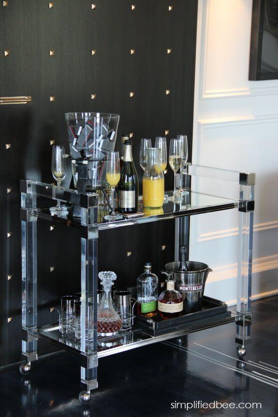 lucite bar cart // Catherine Kwong Design // San Francisco Decorator Showcase #SF #bar #cart #lucite