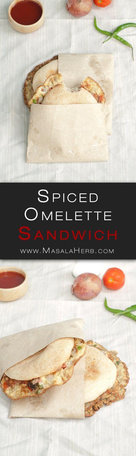 Goan Omelette Poi - Spiced Egg Omelette Bread Sandwich - Indian Street Food www.MasalaHerb.com #recipe #indian #streetfood