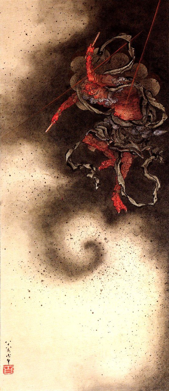 葛飾北斎:<雷神図>(肉筆画)Hokusai Katsushika. God of thunder