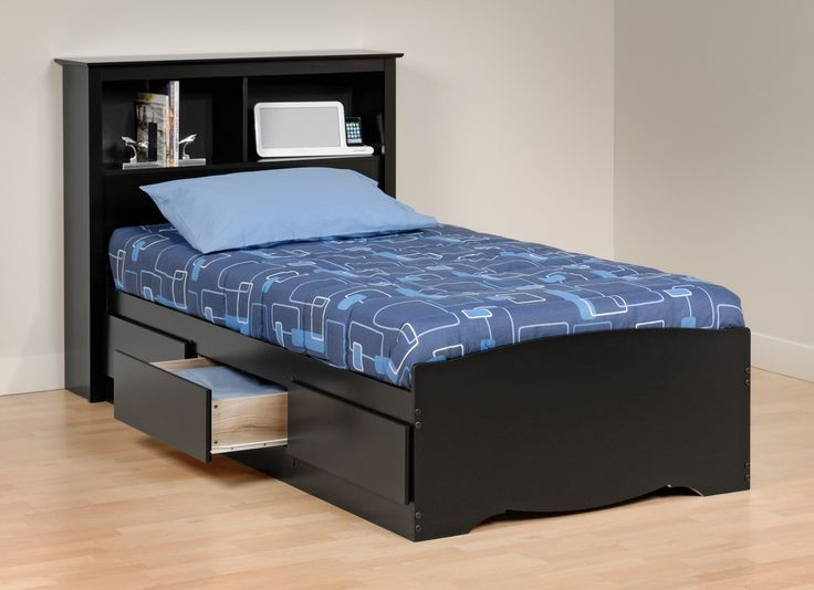 Bedroom : Awesome Black Wood Twin Size Bed Frame With Storage And Drawers Has Blue Bed Covers And Blue Pillow Around Painted Bedroom Wall Above Wood Floor For Small Bedroom Design And Decoration Ideas The Wonderful Teak Twin Size Bed Frame Ikea Tromso Twin Size Loft Bed Frame. Twin Size Spirit Loft Bed Frame. Twin Size Folding Bed Frame.