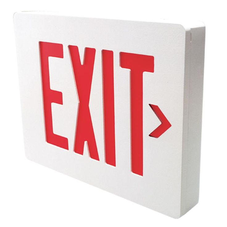 Dual-Lite SESRWE Red LED Wall / Ceiling Mount Emergency Exit Sign - Battery Incl White Commercial Lighting Emergency Lights Exit Signs