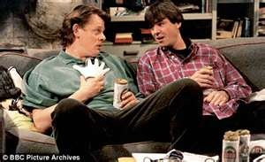 Men behaving badly: A very blokey sitcom and I do love a bit of blokey humour and vulgarity. It aired from 1992-1998 had 6 series and two specials. Main characters are flatmates gary and tony and thier neighbour Deborah and gary's girlfriend Dorothy.In the first series harry Enfield played the flatmate Dermot but it was a bit pants and so Neil Morresy took over the role.I find its perfect hangover entertainment, My favourite episode 'the good pub guide'.