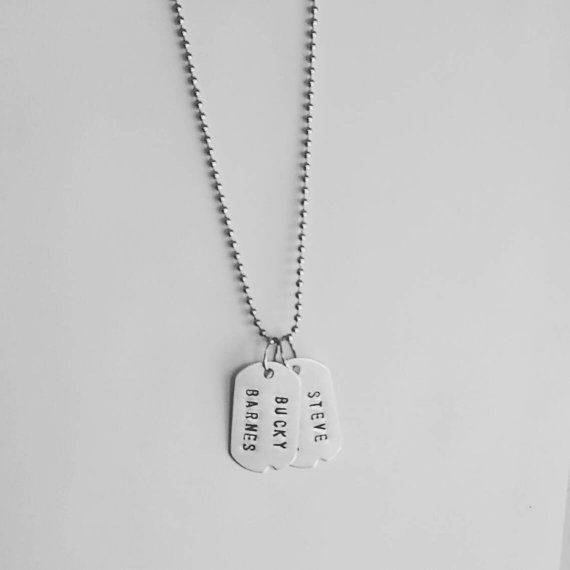 Steve Rogers & Bucky Barnes - Captain America Winter Soldier - Marvel - Dog Tag Necklace