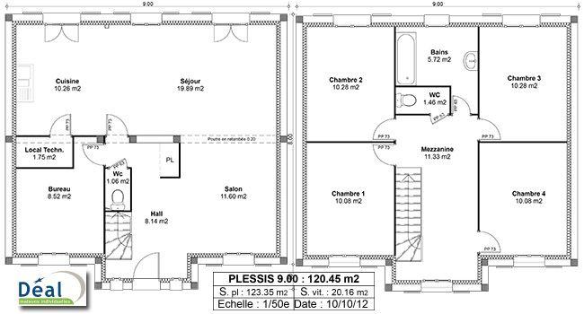 Croissant Plan maison a etage 120m2 | Plans maison en 2019 | Plan maison CP-71