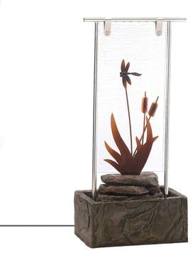 Outdoor Dragonfly Serenity Water Fountain eclectic-outdoor-fountains