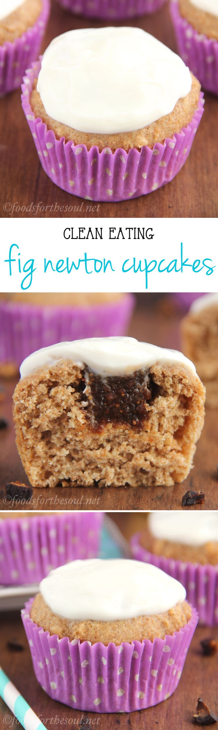 Clean-Eating Fig Newton Cupcakes -- they taste just like the cookies! Made with NO butter, refined flour or sugar. Just 150 calories & almost 6g of protein!