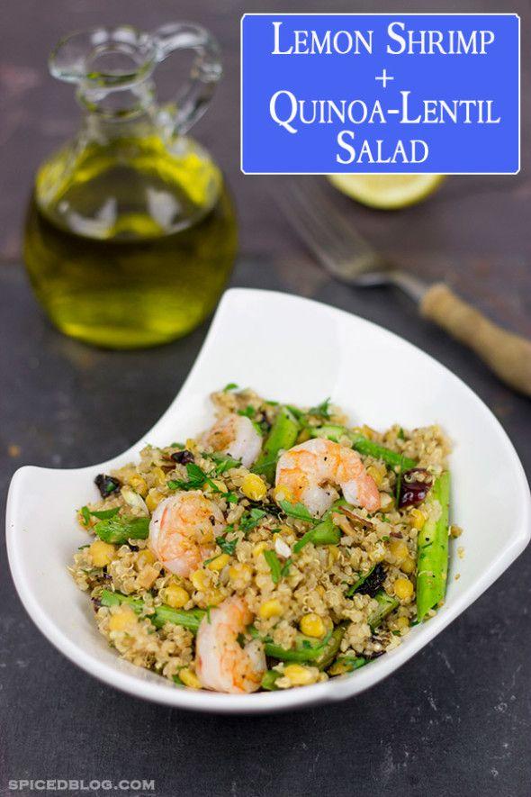 Lemon Shrimp + Quinoa-Lentil Salad | Recipe | Shrimp Salads, Shrimp ...