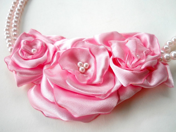 Pink Rose Necklace Satin Fabric Flower.