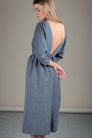 Фото - Платье Черешня с открытой спиной серо-голубого цвета, , 300x450