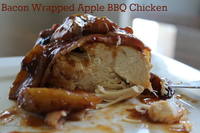 Bacon Wrapped Apple BBQ Chicken - Crock Pot Recipe I love chicken, but I will admit, I can get bored with it from time to time.  So, I love finding new w