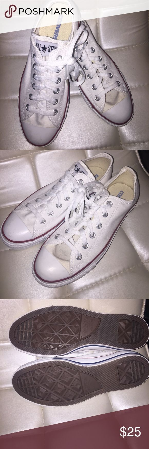 Crisps white Converse All Star Classics All Stat Convers Men's 7 or Lady's 9. White and clean hardly used Converse Shoes Sneakers