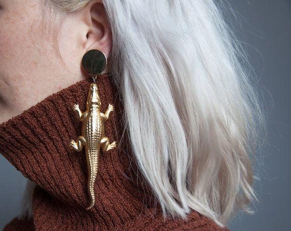 After a while alligator oversized earrings / long dangle earrings / statement…