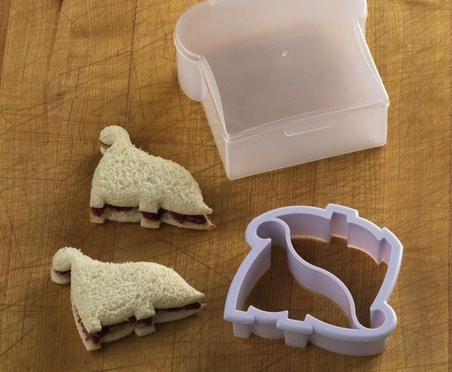 #Dinosaur #Sandwich #Cutter And Container - $24 / Rest assured, your child will be excited for lunch when he sees his sandwich is two dinosaurs. Make the sandwich, use the dinosaur mold to shape 2 dinosaurs, taking the crust off, then put in its box for your child to take to school. http://thegadgetflow.com/portfolio/dinosaur-sandwich-cutter-container/