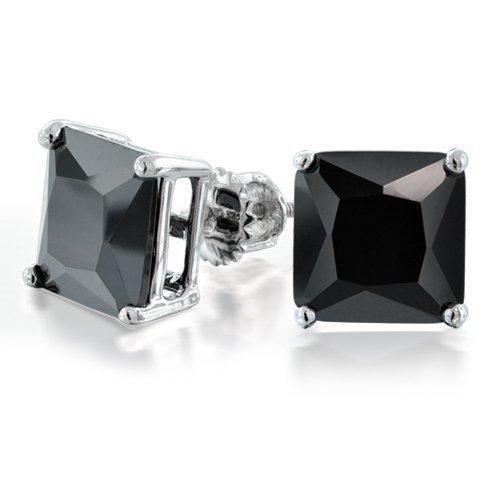Bling Jewelry CZ Princess Cut Black Sterling Silver Screw Back Stud Earrings 9mm